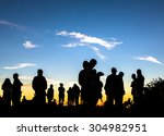 people enjoys the sunrise on... | Shutterstock . vector #304982951