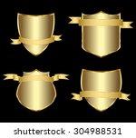 vector set gold framed labels | Shutterstock .eps vector #304988531