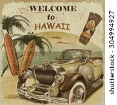 Welcome To Hawaii Retro Poster.