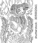 hand drawn animal coloring page | Shutterstock .eps vector #305002061