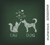 dog and cat painted white chalk ...