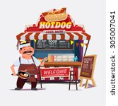 hot dog outdoor cart with... | Shutterstock .eps vector #305007041