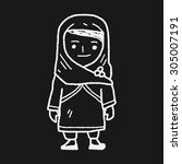 arab woman doodle | Shutterstock .eps vector #305007191