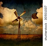 Windmill On A Textured...