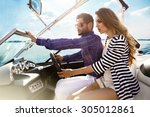 sexy couple on the luxury yacht   Shutterstock . vector #305012861