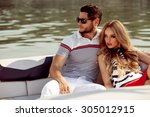 sexy couple on the luxury boat | Shutterstock . vector #305012915
