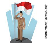 indonesian patriot giving... | Shutterstock .eps vector #305028509