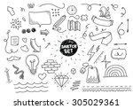 Sketch set with dotted design elements. Linear style vector sketch. Isolated creative objects. Hipster doodles.