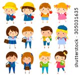 school kids of different ages... | Shutterstock .eps vector #305031635
