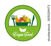 vegan food digital design ... | Shutterstock .eps vector #305039471