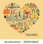icon architectural monuments of ... | Shutterstock .eps vector #305043065