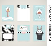 cooking cards  notes  stickers  ... | Shutterstock .eps vector #305049299