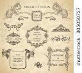 set of emblems for vintage... | Shutterstock . vector #305050727