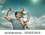 son seating on the father under ... | Shutterstock . vector #305051819