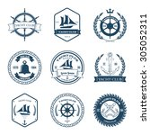 set of yacht club labels design ... | Shutterstock .eps vector #305052311