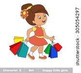 one cartoon baby girl. hobby... | Shutterstock .eps vector #305054297