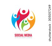 social media   vector logo... | Shutterstock .eps vector #305057249