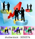 Conceptual business background, people shaking hands on pie charts in front of soaring profits, main image on separate layers for easy editing. Also includes several different color versions - stock vector