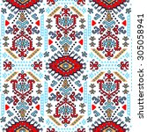 vector tribal mexican vintage... | Shutterstock .eps vector #305058941