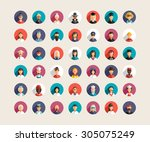 set of flat design professional ... | Shutterstock .eps vector #305075249