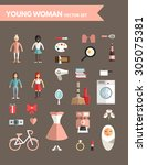 set of flat design infographic... | Shutterstock .eps vector #305075381