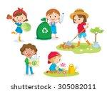 cute kids volunteers | Shutterstock .eps vector #305082011