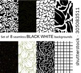 set of 8 seamless black and... | Shutterstock .eps vector #305083511