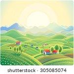summer rural landscape with... | Shutterstock .eps vector #305085074