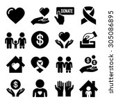 charity and care icons set | Shutterstock .eps vector #305086895