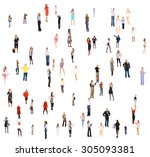standing together people... | Shutterstock . vector #305093381
