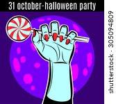 halloween party design template ... | Shutterstock .eps vector #305094809