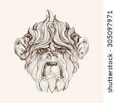 hand drawn portrait of monkey.... | Shutterstock .eps vector #305097971