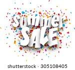 white summer sale sign over... | Shutterstock .eps vector #305108405