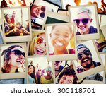 collection collage set diverse... | Shutterstock . vector #305118701