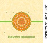 banner with decorated rakhi... | Shutterstock .eps vector #305118809