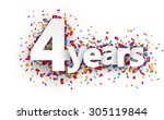 four years paper sign over... | Shutterstock .eps vector #305119844
