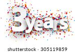 three years paper sign over... | Shutterstock .eps vector #305119859