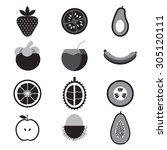 fruit icon set vector...   Shutterstock .eps vector #305120111