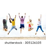 diversity friends summer beach... | Shutterstock . vector #305126105