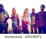 friendship bonding relaxation... | Shutterstock . vector #305130071