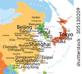 east asia vector map with... | Shutterstock .eps vector #305130209