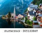 classic view of hallstatt...   Shutterstock . vector #305133869