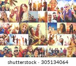 collage diverse faces summer... | Shutterstock . vector #305134064