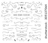 set of hand drawn vector... | Shutterstock .eps vector #305137064