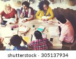 diverse architect people group... | Shutterstock . vector #305137934