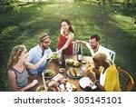 friends friendship party... | Shutterstock . vector #305145101