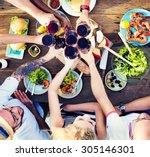 food table celebration... | Shutterstock . vector #305146301