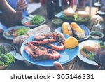 food lunch celebration party...   Shutterstock . vector #305146331