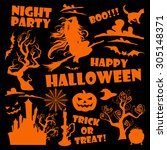 halloween background  | Shutterstock .eps vector #305148371