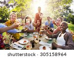 diverse people party... | Shutterstock . vector #305158964